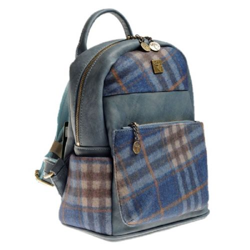 House of Tweed Small Rucksack Handbag in Blue Grid
